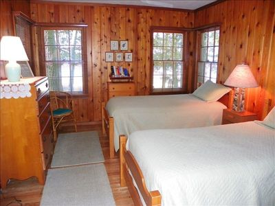 Lakeside bedroom with twin beds