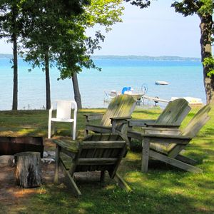 Fire pit overlooking beautiful Torch Lake
