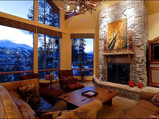 Breckenridge house photo - Great Room with Stacked Moss Rock 22-Foot High Fireplace