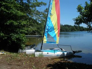 Dennis Village cottage photo - Sail in Hobie Wave Catamaran and go kayaking or canoeing from beach on property.