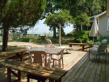 Bayside patio is great for outdoor dining and sunning.