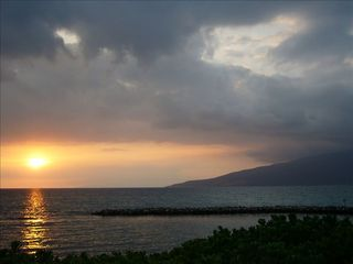 Kihei townhome photo - Sunset over ancient Hawaiian fish pond and whale sanctuary across the street.