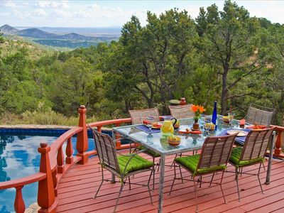 Santa Fe house rental - Patio Dining with superb views as far as 50 miles and more!