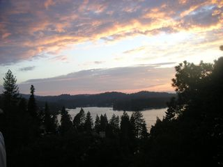 Lake Arrowhead cabin photo - sunset on the deck