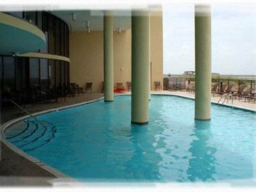 Salt water outdoor pool, has both sunny areas and shaded