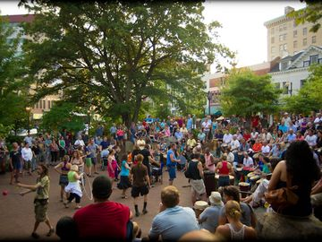 Friday night drum circle in Pritchard Park downtown.
