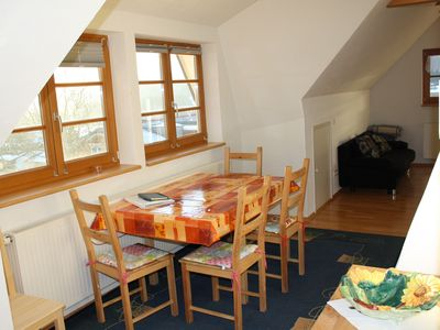 Living and dining area, attic apartment