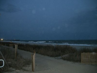 Pier and Beach from Board Walk at Night