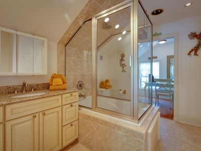 Master bathroom: vanity with granite counter top.
