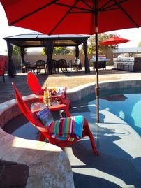 Gilbert house rental - Enjoy the huge pool (heat avail. starting 2/1/15) & the outdoor cooking area.