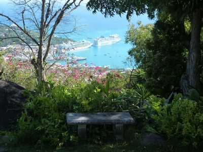 The view from the porch looking down to Charlotte Amalie harbor.