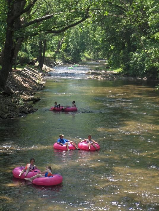 Tubing down the lazy river in Helen - about 40 minutes away.