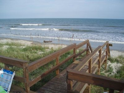 Private decked walkway to the Beach.