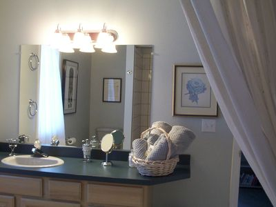 "Large bath for two bedrooms in Chugach View Suite--big enough to ""dance in""!"