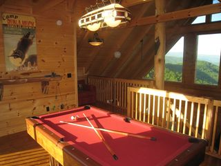 Wears Valley cabin photo - Loft has Views toward Pigeon Forge, Smokey Mountains, 7' Billiard Table, HDTV