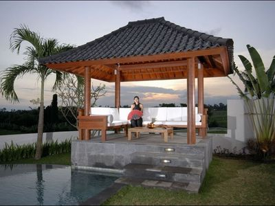 Our gazebo or Bale in the Garden with a splendid Rice Field View