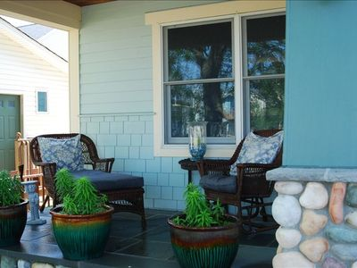 Shady front porch overlooks bay ... perfect spot for morning coffee!