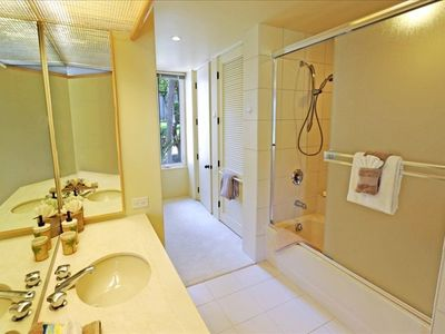 Your master bedroom has an adjoining ensuite with full-size bathtub and laundry!