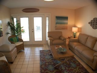 "St. Augustine Beach house photo - ""Surf"" living area with leather sofa!"