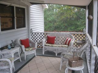 Oak Island house photo - The screened in front porch