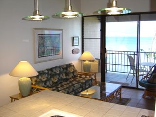 Maalaea condo photo - Living Room With Sofa That Opens To Queen Sleeper