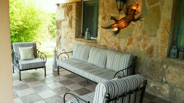 Shaded outside seating area