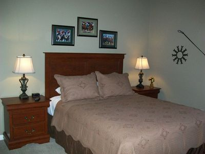 Sleep comfortable & cozy in our 2nd Bedroom with Queen bed & remote cable TV.
