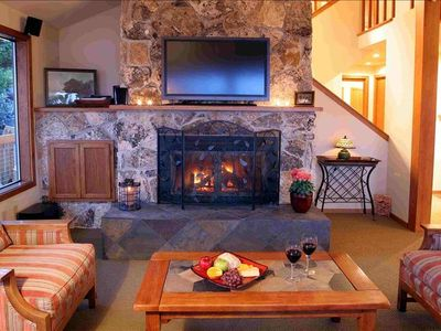 Living room wood fireplace