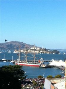 View of the Balclutha and Alcatraz from the roof deck.