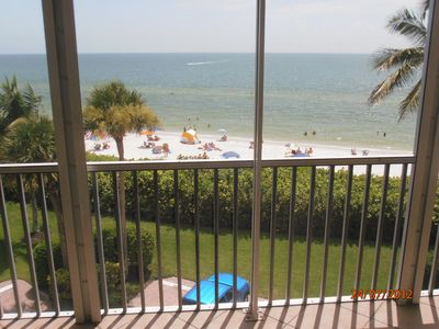 Beautiful beach view from our screened balcony.