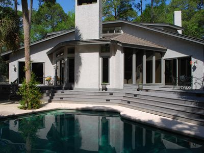 Sea Pines house rental - Completely private custom landscaped saltwater pool/spa