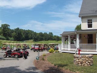 Sherman lodge photo - Cart park - ready for 1st tee! The Lodge on 2nd is hidden by distant trees