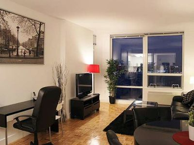 NYC Manhattan Skyline-Facing Suites: 2BR Furnished Suites w/Balcony