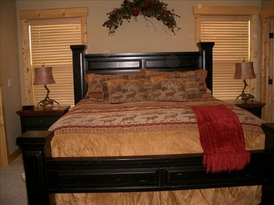 King-sized bed in the Master Suite.
