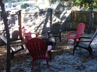A fire pit and chairs in the backyard for evening entertainment.