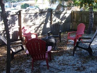 Sarasota house photo - A fire pit and chairs in the backyard for evening entertainment.