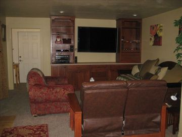 "Media Room with a 52"" tv, Blu-ray, Wii, Exercise Equipment and Bar"