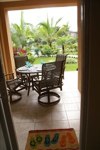 Los Suenos Resort condo rental - View from Living/Dining room sliding glass door.