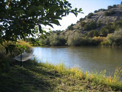 This lovely private beach along the Rio Grande is a short walk from the house.