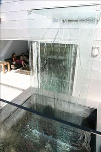 A relaxing water feature greets you at the entrance.