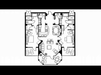 Floor plan of interior two bedroom residence.
