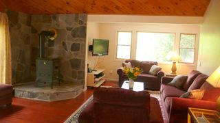 Belleayre Mountain house photo - Great room with woodstove, Sattellite HDTV/Wifi comfortable seating