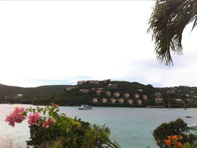 View of the resort from across the bay at Coki Beach and Coral World