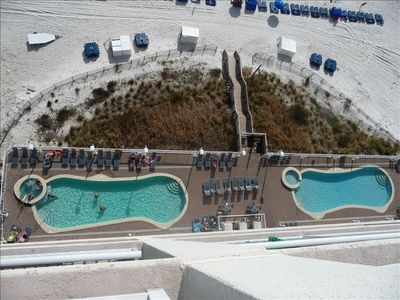 Pool and Beach - view from our unit