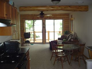 Cedar Lake cabin photo - Upstairs second kitchen and family room overlooking upper balcony.