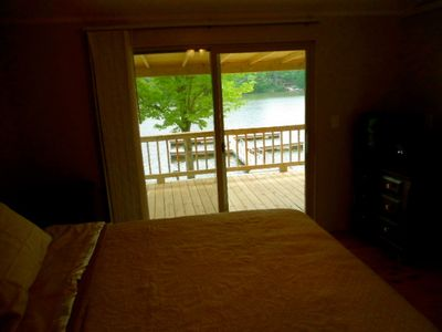 2nd bedroom, opposite side of cabin. Glass doors lake side. Pillow top mattress.