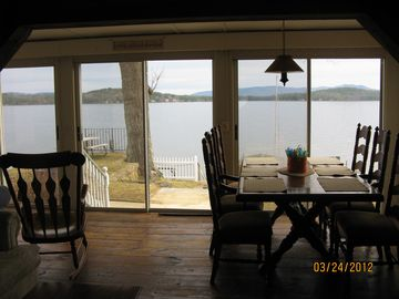 Weirs Beach cottage rental - There are three large sliders with excellent view of the lake.
