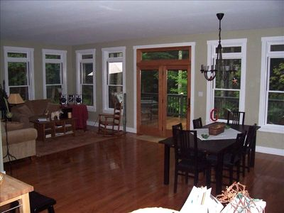Living and Dining Room with View Out to the Large Deck  9 Foot Ceilings!