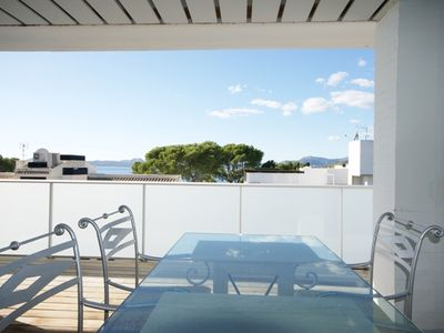 Family penthouse apartment with pool in Illa d'Or area (full AC, Sky, BBC, Wifi)