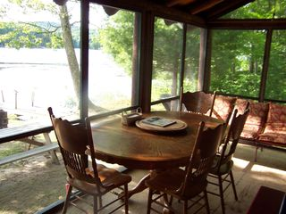 Lake Hortonia cabin photo - Large Screened in Porch, summer breeze, watch the fire from the porch